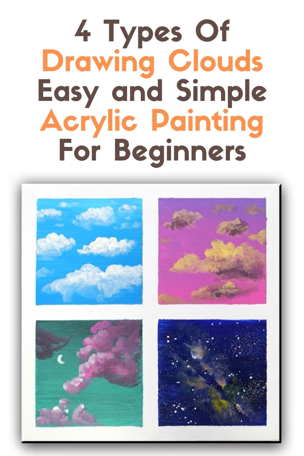 4 Types Of Drawing Clouds Easy and Simple Acrylic Painting For Beginners