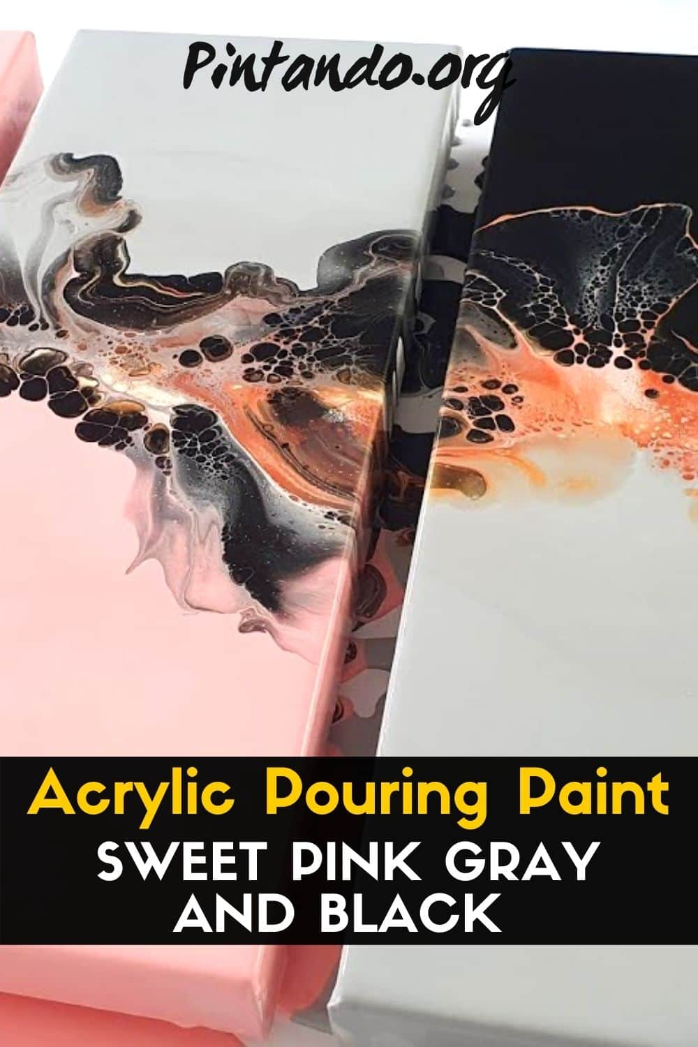Acrylic Pouring Paint with SWEET PINK !_ GRAY AND BLACK -min
