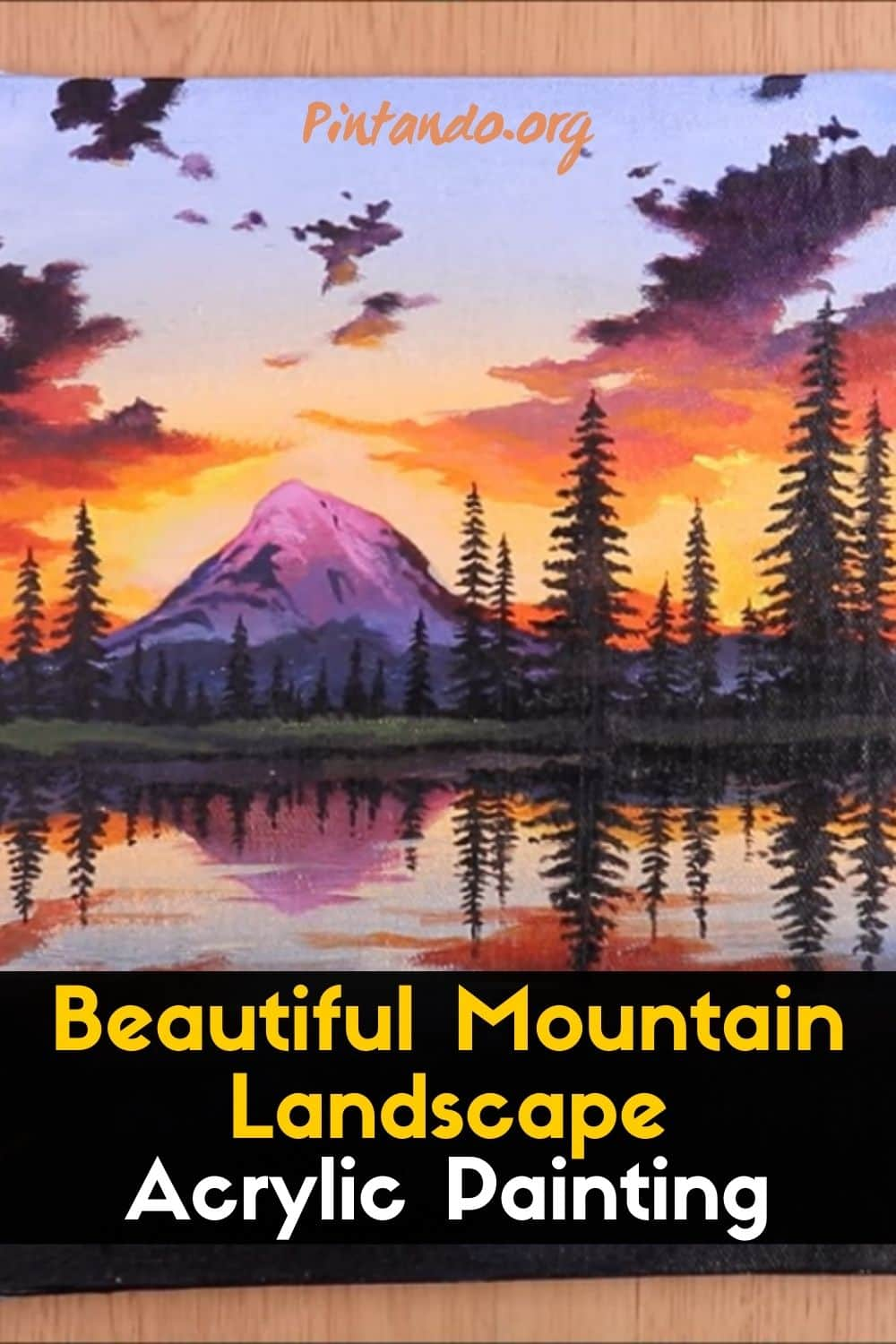 Beautiful Mountain Landscape _ Acrylic Painting-min