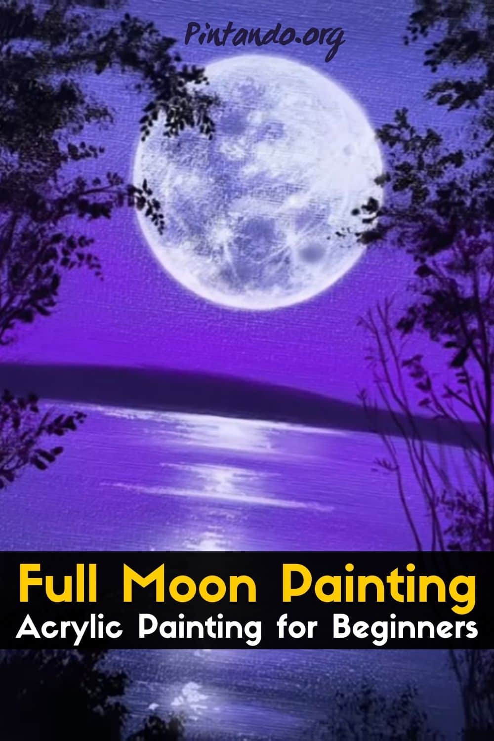 Full Moon Painting _ Acrylic Painting for Beginners _ STEP by STEP-min