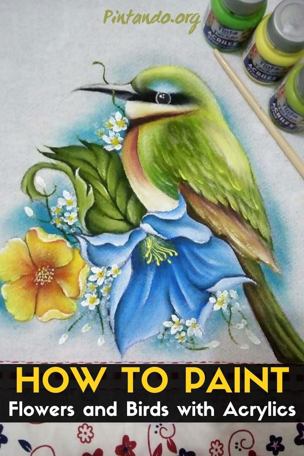 How to Paint Flowers and Birds with Acrylics