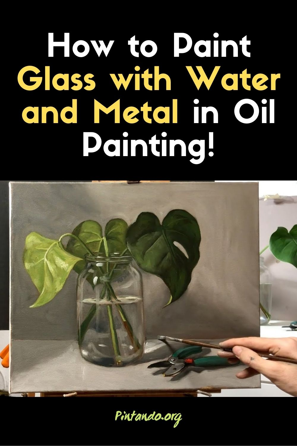 How to Paint Glass with Water and Metal in Oil Painting!