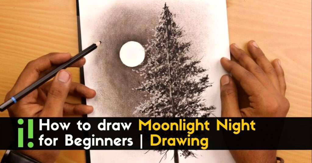 How to draw Moonlight Night for Beginners _ Drawing (1)