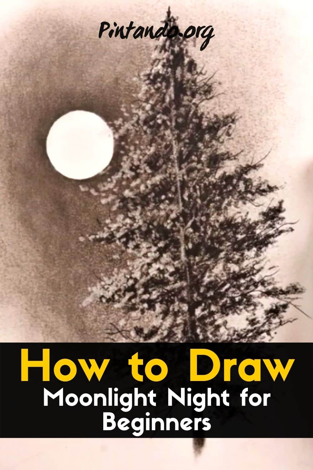 How to draw Moonlight Night for Beginners _ Drawing-min