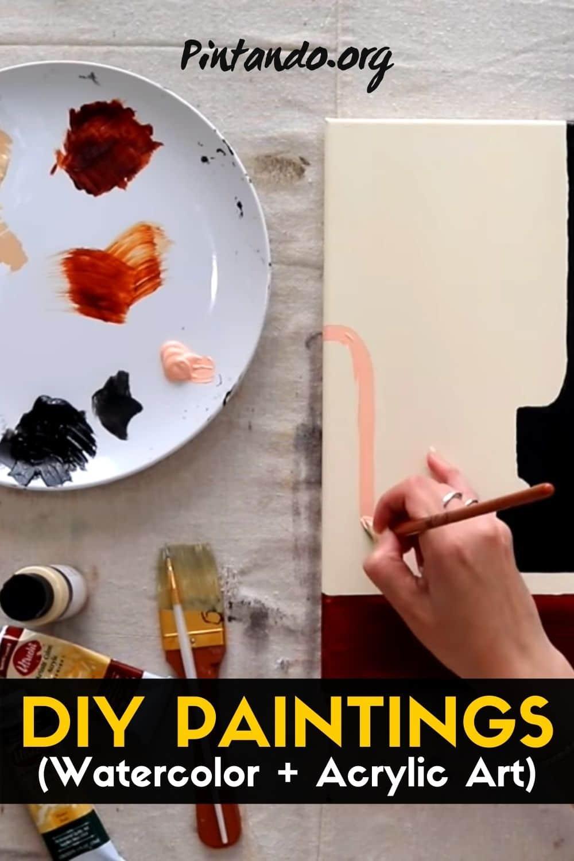 Simple DIY PAINTINGS (watercolor + acrylic art) -min