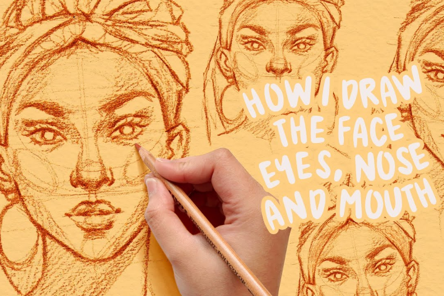 how to draw faces, eyes, nose, mouth tutorial